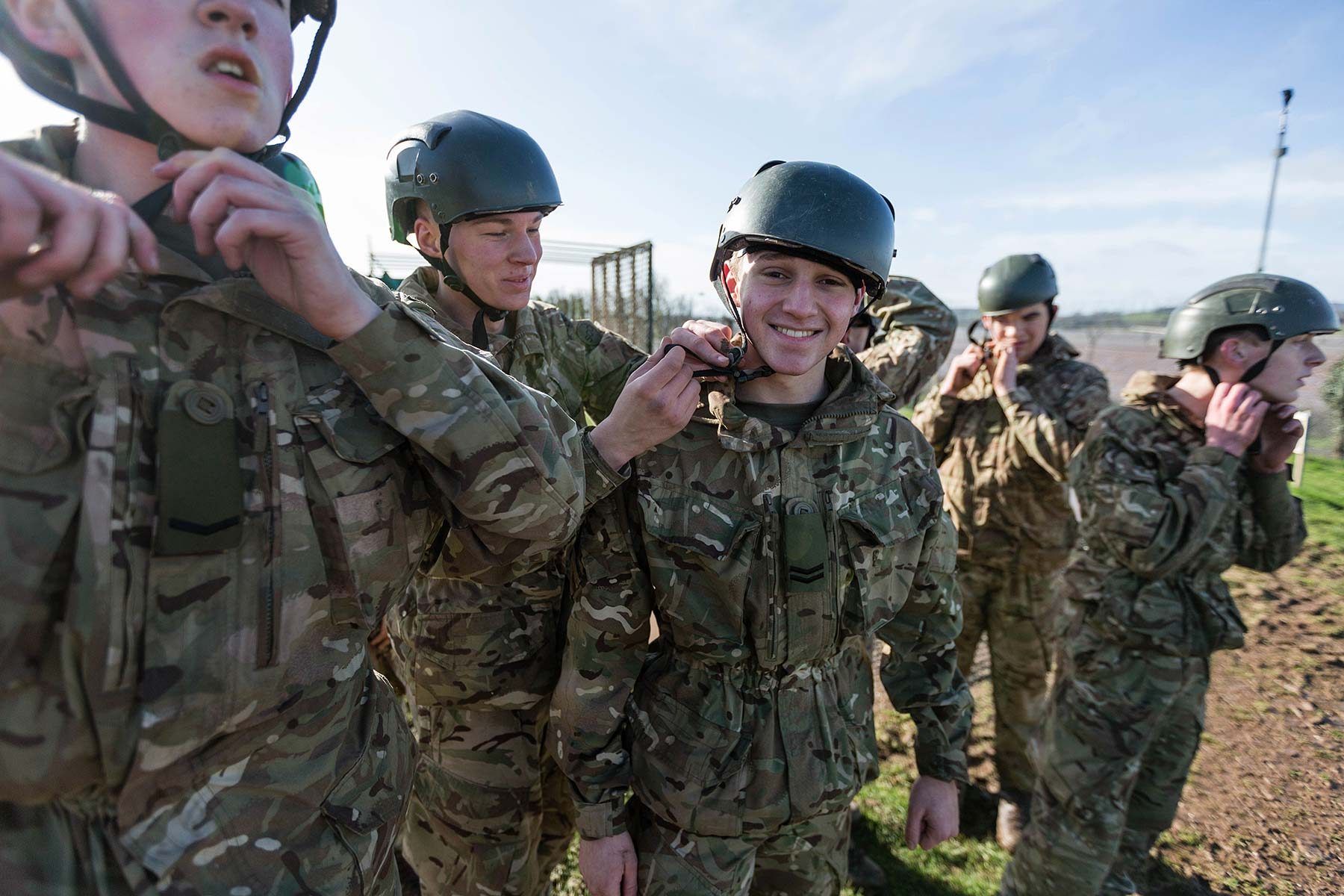 Royal Marine cadets in camouflage for outdoor activity