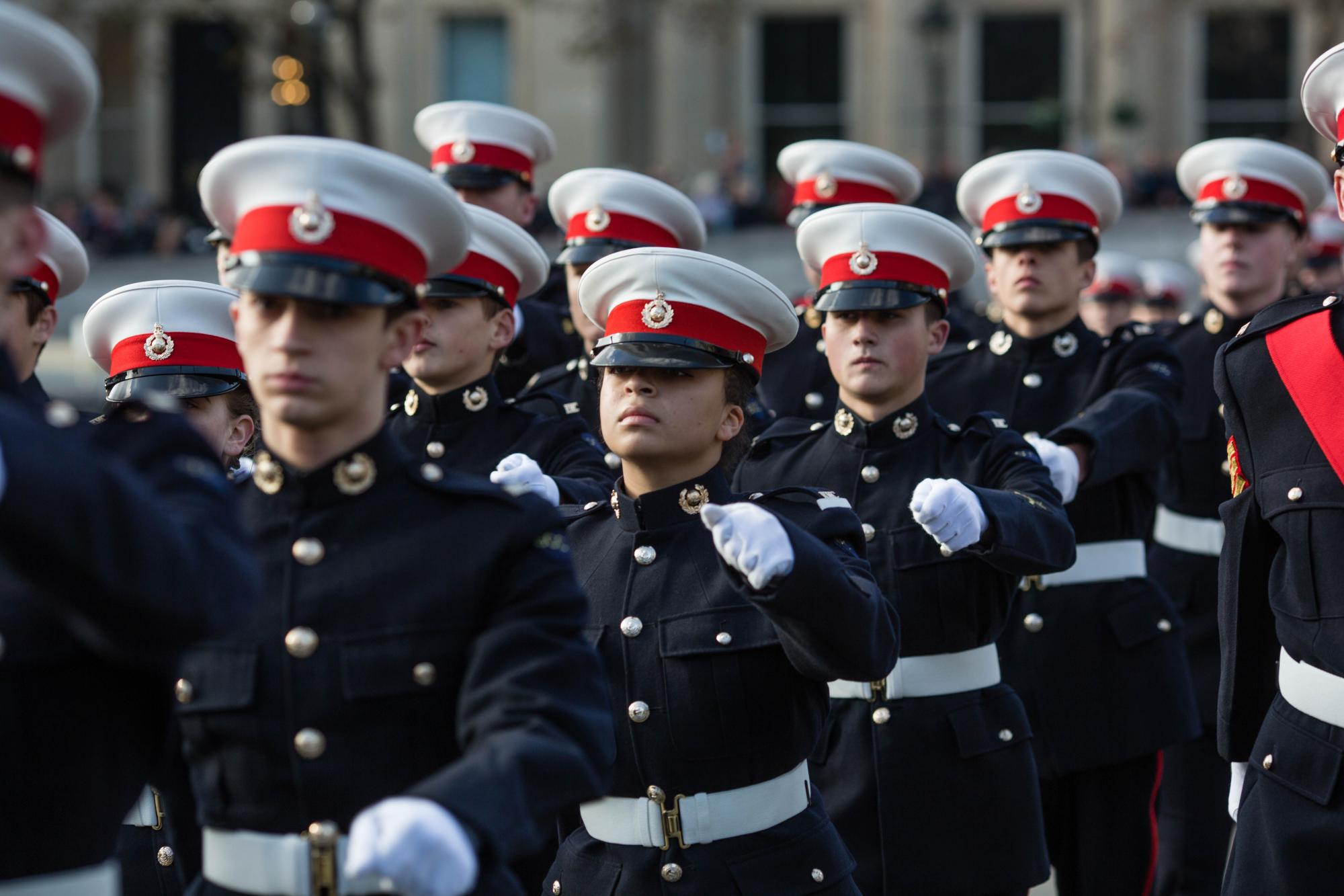 Royal Marine Cadets marching in uniform