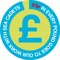 Donation badge showing that 93 pence of every pound is used for charity