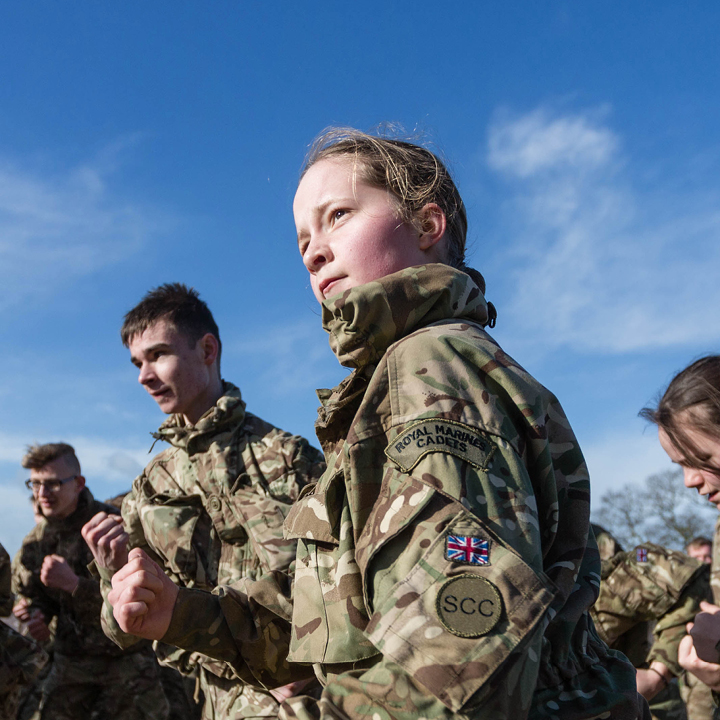 Young girl in Royal Marine Cadet camouflage uniform